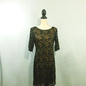Connected Apparel Black Lace Sheath Dress Party 12